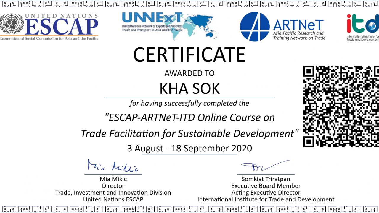 SOK-KHA-ESCAP-ARTNet-ITD-Online-Course-on-Trade-Facilitation-for-Sustainable-Development